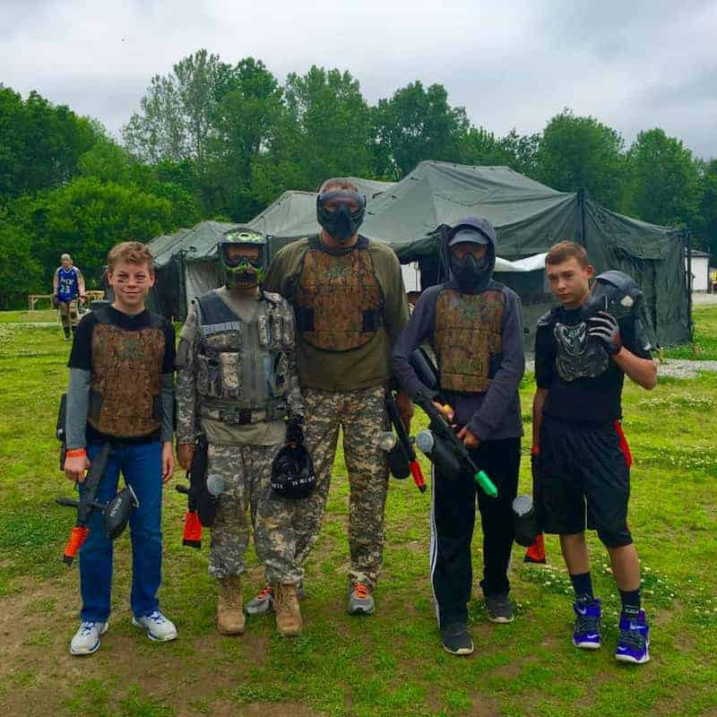 large youth group at paintball event near Indianapolis