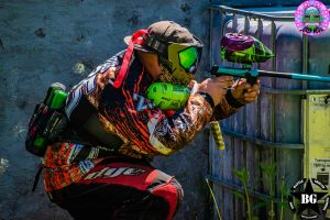paintball player crouching on Indianapolis field